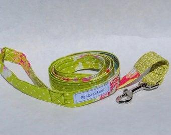 Dog Leash Large Dog Leash Dog Lead Fabric Multi Print OOAK Spring Green Pink