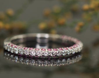 Three Sided Diamond and Pink Sapphire Wedding Band in 14k White Gold, 0.76ctw, 2.2mm Wide, Split Prong Setting, 5/8 Eternity, Anna R