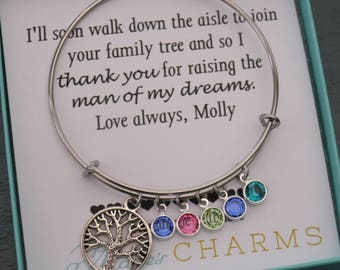 Mother of the Groom Bracelet, Mother of the Groom Gifts, Family Tree Bangle, Tree Bangle with Birthstones, Message Card Jewelry, Custom