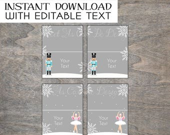 Nutcracker Food Tent Labels Birthday Party | Editable INSTANT DOWNLOAD | Gray White Snowflake Ballerina Sugar  sc 1 st  Etsy & Sugar plum tents | Etsy