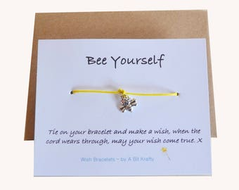Bee Yourself, Friendship wish Bracelet with Envelope