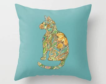 Calico Cat Throw Pillow, blue and gold floral, Vibrant colorful cute kitty, gold, blue, green, cushion, cute, sofa, bed, dorm, fall