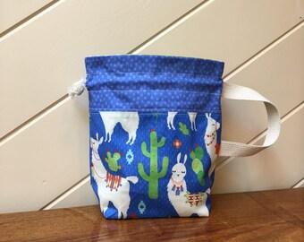 "Small Drawstring Project Bag for Knitting or Crochet, Yarn Tote, Sock Bag, Craft Storage ""Llama Llove"""