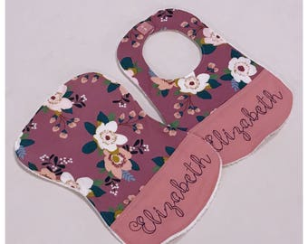 Floral Boho Bib and Burp Cloth Set with Personalization