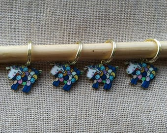 Stitch Markers for Knitting, Set of 4 Colourful Sheep, Choice of Ring Size, Bulky Stitch Marker, Chunky Knit Marker, Knitting Notions