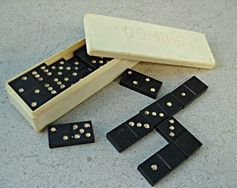 Vintage soviet Russian domino  set  1960s-70s original box, soviet era doino set , vintage Russian game .
