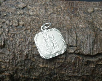 Vintage Sterling Silver Square St Christopher Necklace Pendant