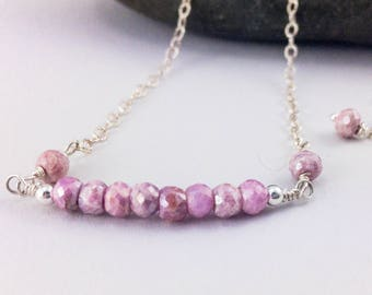 Delicate Gemstone Bar Necklace - Pink Sapphire - Layering Necklace - Sterling Silver