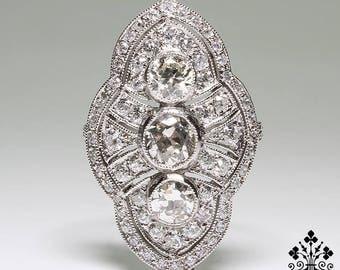 Antique Edwardian Platinum 2.95ctw. Diamond Ring