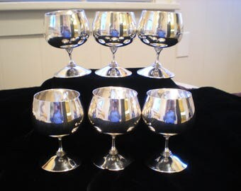 Valero Cognac EPB Silver Plated Goblets Set of 6 Made in Spain