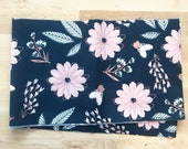 Blush Rose Gold Sparkle fabric Large Floral NAVY -- Riley Blake Designs by Jen Allyson for My Mind's Eye Quilting Fabric