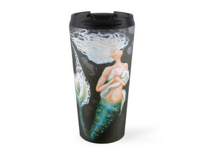 Mermaid travel mug, insulated stainless steel mermaid mug drink holder, black mermaid cup, kitchen items, Original art by Nancy Quiaoit.