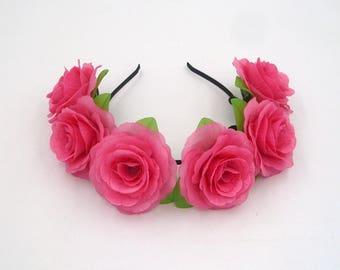 Hot Pink Flower Crown,Pink Rose Headband,Pink Flower Headband,Pink Rose Crown,Girls,Women,Adult,Festival Crown,Wedding Bridal Headband