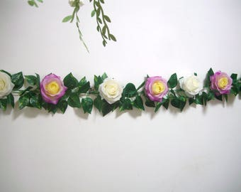 Silk Flower Garland,Purple,Rose Garland,Wedding Arch Garland,Swag,decor,Floral Greenery Garland Backdrop,Hanging Flower,Curtain,Centerpiece