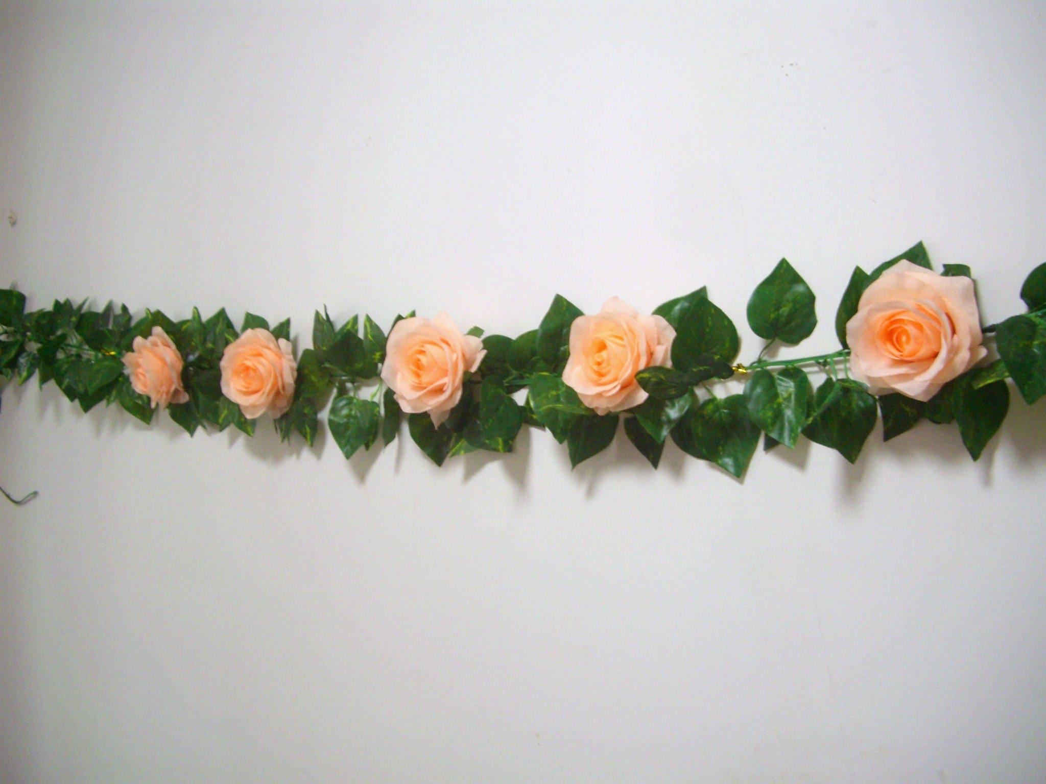 Wedding garlandpeachsilk flower garlandrose garlandwedding arch wedding garlandpeachsilk flower garlandrose garlandwedding arch flower decor mightylinksfo