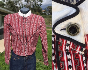 Vintage Medium Vintage Wrangler Red Black and White Western Shirt Ladies Silver Buttons Black Piping Cotton