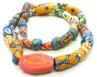 Ethnic tribal Ghana Krobo powdered glass bead necklace