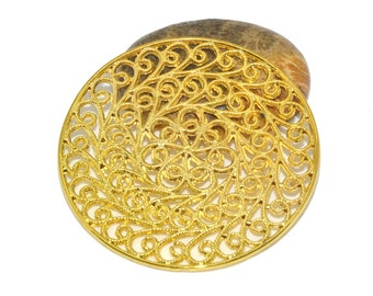 prints 10 gold filigree round 30mm