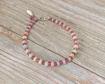 "Ethiopian opal beads & pink topaz bracelet 7"" fresh water drop pearl charm 7"" sterling silver lobster clasp"