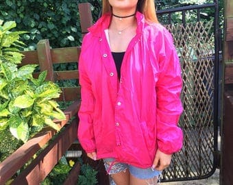 Retro shell suit florescent pink showerproof jacket