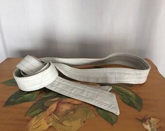 Gray Leather Strap Belt Vintage Belt