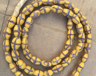 Venetian old antique yellow france glass bead Africa trade beads