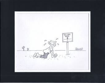 Fred Thomas Signed Original Gag Panel Original Comic Art Cartoon 2*