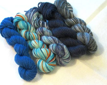 "5 mini skeins of sock yarn, 10 g each, 50 g / 205 yards total,  colour ""Agua"", fingering weight mini skeins, wool, sockyarn minis"