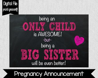 BIG SISTER Pregnancy Announcement - Pregnancy Announcement - Big Sister Chalkboard Sign - INSTANT Download! - Photo Prop - Baby on the way