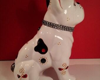 """Statue ceramic Bulldog, """"Ruby"""" unique, Laure Terrier"""