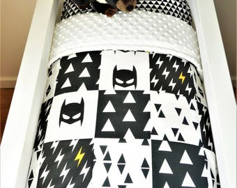 Bassinet/pram items or set - Black and white batman bassinet bedding, bassinet quilt, bassinet fitted sheet, bunting