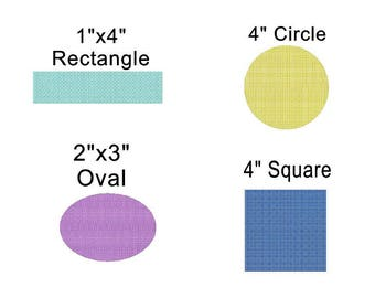 Knockdown Stitch Bundle Oval, Circle, Rectangle and Square  Embroidery Design Digital File - convo us if you need a different size or shape
