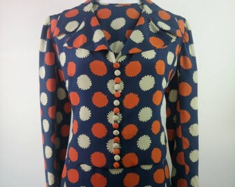 1960s silk Dress Suit psychedelic print pleated skirt cropped jacket