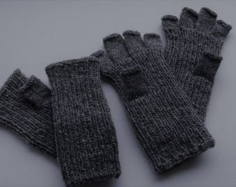 FREE SHIPPING! Mens dog wool half finger gloves, dog wool mittens, hand knit gloves, fingerless gloves womans, gift ,Wrist Warmers  dog wool