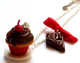 "Necklace ""tasted delicious"" Cherry Chocolate cupcake"