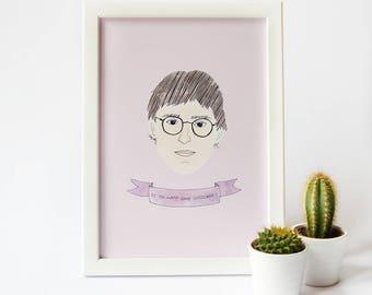 Louis Theroux Print · Dibujo Acuarela estilo impresión · Louis Theroux Quote impresión · Impresión de Louis Theroux Portrait documental de TV