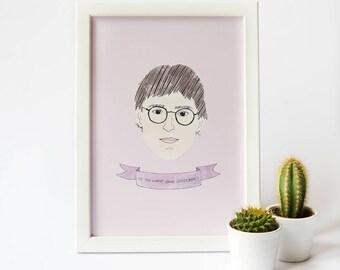 Louis Theroux Print · Illustrated Watercolour Style Print · Louis Theroux Quote Print · TV Documentary Louis Theroux Portrait Print