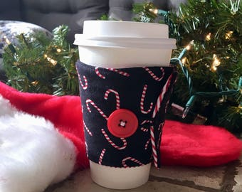 Candy Canes Coffee Cuff..... Reusable coffee cup sleeve..... Coffee Cup Cozy