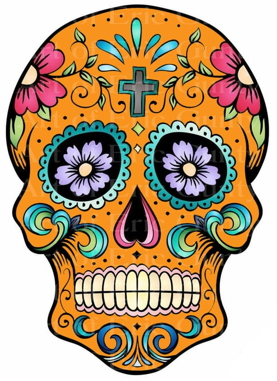 Orange Sugar Skull Halloween Birthday - Edible Cake and Cupcake Topper For Birthday's and Parties! - D22643