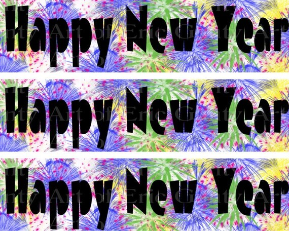 Happy New Year Fireworks - Designer Strips - Edible Cake Side Toppers- Decorate The Sides of Your Cake! - D22822