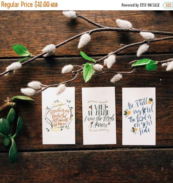 ON SALE Mini scripture cards featuring classic hymns, easter gift, set of 9, encouragement cards, bible verse worship art, pass it on