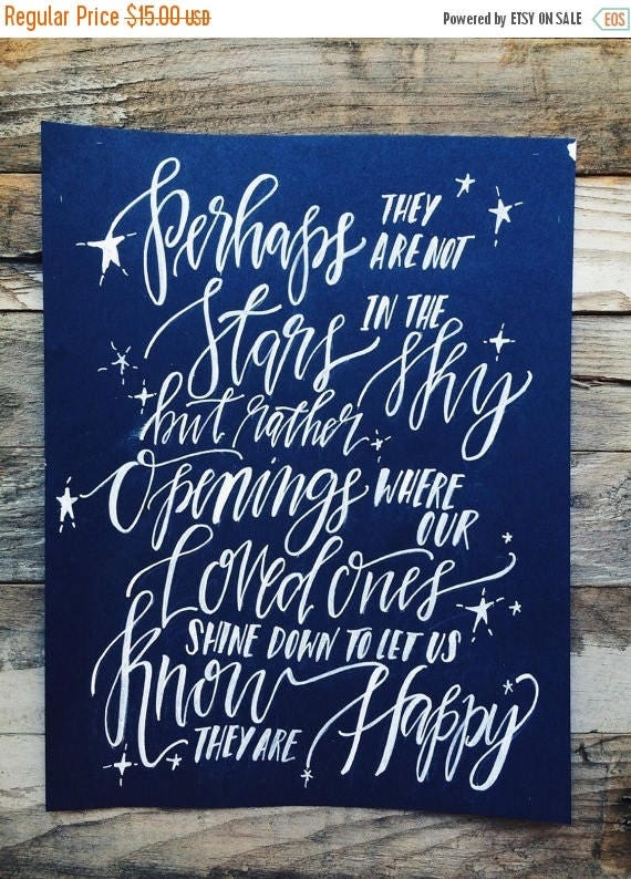 ON SALE Sympathy gift, in memory of, memorial print, loss of a loved one, stars shining down from heaven, gone but not forgotten