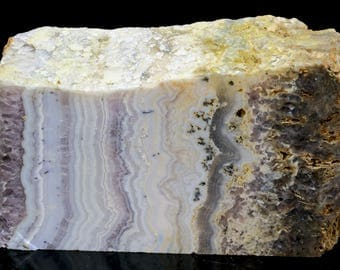 Beautiful Sowbelly Amethyst Lace Bacon Agate Block Slab