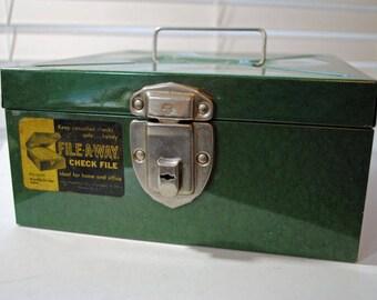 Vintage Green File-A-Way Card File Box