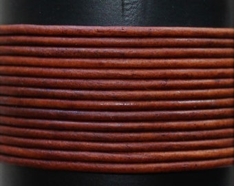 Natural Red Brown / 1mm Leather Cord / leather by the yard / round leather cord / genuine leather / necklace cord / bracelet cord