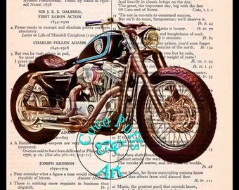 Black Sportster 1200 Custom Art - Vintage Dictionary Book Page Art Upcycled Page Art Drawing