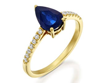 Art deco Sapphire Engagement Ring -Gold Ring-Sapphire Engagement Ring-Anniversary gift-Promised ring-Sapphire ring-Pear shaped Sapphire ring