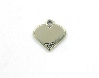 Sterling Silver Engravable Heart Script Charm