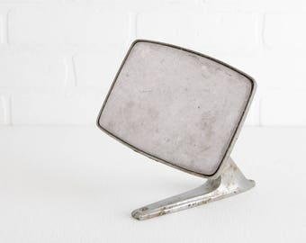Vintage 1960s Ford Side Mirror, Chrome Rectangular Wall Mount Mirror, Part Number 15-1553, D3TB-17743-DA