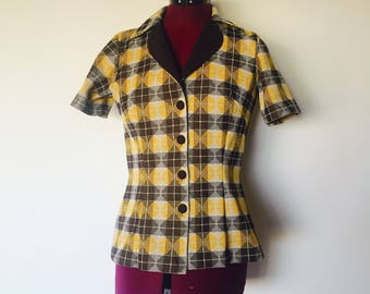 70s Top Blazer Short Sleeve size S M